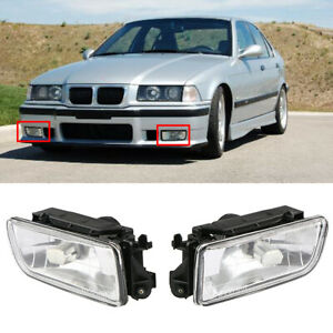 For BMW E36 3-Series 92-98 Replacement Front Bumper Fog Lights Lamp Clear Lens