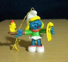Smurfs Christmas Caroler Smurfette Ornament Vintage Smurf Toy Figurine PVC 51909
