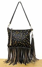 HANDMADE MURKA DARK BROWN LEATHER STUD FRINGE CHARM WRIST CLUTCH SHOULDER BAG
