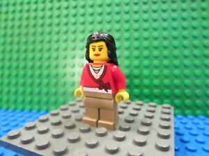 Lego Minifig: #CTY0137 Farm Hand, Female, Overalls Blue over V-Neck Shirt #4207