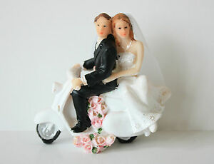 Bride & Groom Cake Topper, Wedding, Scooter, Hand Painted Resin, 9cm x 8cm