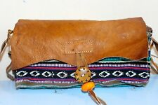 Recycled Handmade organic cotton w Leather cover multi-color shoulder bag