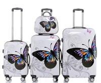 maleta cabina equipaje mano rígida dura 4 ruedas trolley mariposa juegos neceser