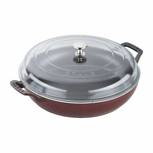Staub Cast Iron 3.5-qt Braiser with Glass Lid - Visual Imperfections - Grenadine