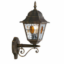 Outdoor Black Gold Stained Glass Porch Wall Light IP44 Massive Philips Muchen
