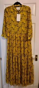 BNWT Lollys Laundry Orangiah Yellow Floral Nee Dress Size UK Small RRP £110