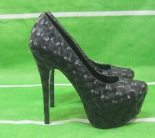 "new ladies Black 6""High Stiletto Heel 1.5 Platform round toe Sexy Shoes Size  10"