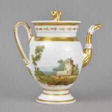Miniature cafetière Empire en porcelaine de Paris à décor personnages 19ème