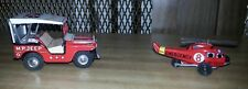 1960s MILITARY POLICE M P JEEP JAPAN W/ EMERGENCY HELICOPTER TIN FRICTION TOYS