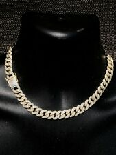 "14k Gold Over Solid 925 Silver 12mm Miami Cuban Chain 18"" 20"" Choker Diamond ICY"