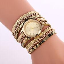Women's Leopard Wrap Braided Faux Leather Analog Quartz Bracelet Wrist Watch NEW