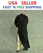 """1/6 Scale Long Sleeves Kung Fu Suit Robe Set BLACK For 12"""" Male Figure Doll"""