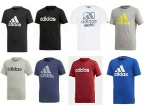 Adidas Boys T Shirt Junior Juniors Kids Jr Cotton Crew Casual Sports Top 5-15