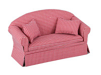 Inusitus Miniature Dollhouse Sofa - Dolls House Furniture Couch - 1/12 Scale Red