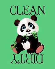 METAL DISHWASHER MAGNET Image Of Panda Bear Clean Dirty Dishes Kitchen MAGNET