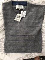 NEW Jos A. Bank Mens Cotton Crewneck Sweater 1905 Collection - M (grey)