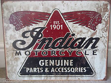 INDIAN MOTORCYCLES, PARTS/ACCESSORIES,  ANTIQUE-FINISH VINTAGE WALL SIGN 40X30cm