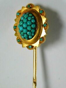 ANTIQUE 12ct GOLD STICK PIN - 12ct GOLD TURQUOISE PIN / BROOCH