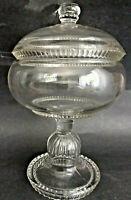 """10"""" Old Vintage Apothecary Footed Pedestal Glass Bon Bon Compote Jar Urn Lidded"""