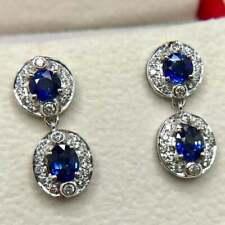 3.56 Ctw Ladies Tanzanite Sim Diamod Halo Drop Earrings Over 925 Sterling Silver