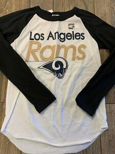 NWT Boys Los Angeles Rams Nice White/Black Long Sleeve Logo Shirt Medium 10/12