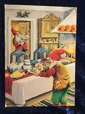 VINTAGE CHRISTMAS POSTCARD - Sweden Erik Forsman Gnomes - Written Uncancelled