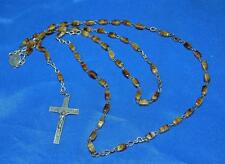 "VTG ROSARY - TINY Brown ONYX BEADS, , 16"" DROP, GORGEOUS iRIDESCENT PATINA"