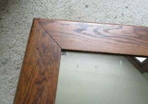 "Antique Oak Wood picture frame 29 1/4"" x 25"" fits 21 1/2"" x 17 1/2"" wall mirror"