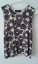 August Silk knit top PL PM 100% SILK black beige floral sleeveless rounded neck