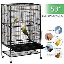 "53"" Metal Large Flight Bird Cage for Parrots Cockatiels Sun Parakeets Pigeons"