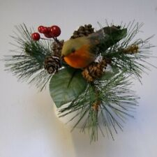 Premier Christmas Robin With Pine Cone Pick with Berries 15cm Xmas Decoration