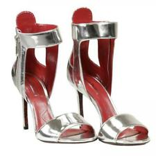 New CESARE PACIOTTI Silver Metallic Sandals Heels 7.5 US 38 EU