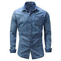 New Mens Cotton Denim Shirt Casual Long Sleeve blue Jeans Shirts XT391