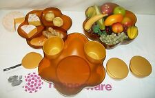 Tupperware 11 pc Open House 1.5 gallon Chip N Dip Bowls NLA Jewel Gem AMBER GOLD
