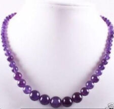 beads necklace 18 inches Aaa+ 6 ~ 14mm amethyst gemstone round