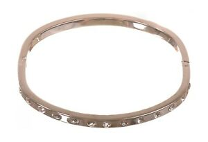 Crystals From Swarovski Tactic Oval Love Bangle Rhodium Plated Authentic 7134a