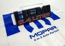 2014-2017 Dodge Ram 2500 HD BLACK 6.4 LITER HEMI Fender Nameplate / Emblem, OEM