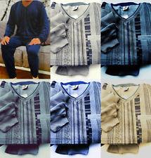 Herren Pyjama Soft Frottee Schlafanzug langarm Gr. M-L-XL-2 XL-3XL V Ausschnitt