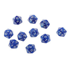 Set/10pcs Blue Twenty Sided Dungeons & Dragons RPG Roleplay Game D20 Dice