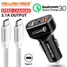 Car Charger 3-Port Quick Charge 3.0 30W Car Adapter&6inch Type C USB-C 3.1 Cable