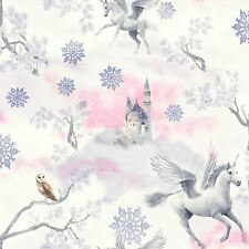 Arthouse Fairytale Lilac Childrens Glitter Unicorn Wallpaper 667801
