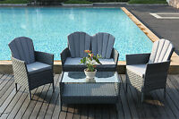 4-Piece Outdoor Rattan Furniture Conservatory Sofa Set Table and Chairs Grey