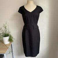 JACQUI E Dress 14  Black White Dots Peplum Sheath Plus Size Business Corporate
