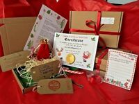 wood wool Christmas Eve Box Personalised A5 Letter gold coin Key & Reindeer Food