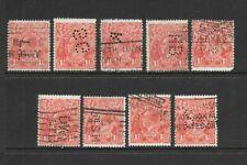 Stamps Australia Bulk 1.5d Red KGV Heads w/ Commercial Perfs x 9 Good/Fine Used