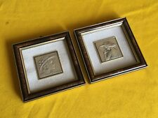 2 Small Paints in Silver with Frames w/ Glass