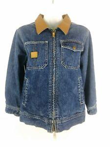 John Deere Lined Denim Jean Jacket Front Zip Youth Boys Size 10-12