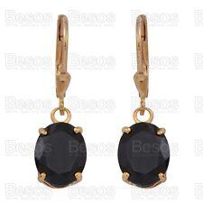 6.5ct BLACK SPINEL dropper EARRINGS 14K GOLD Sterling Silver 925 UK cut oval
