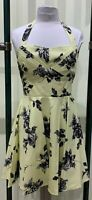 Modcloth Ixia Yellow & Gray Floral Print Fit & Flare Halter Dress
