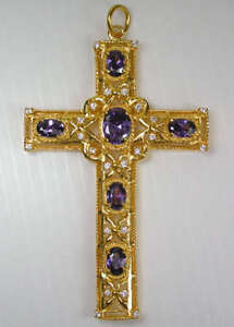 AMETHYST YELLOW GOLD BISHOP CROSS PECTORAL PENDANT BISHOP NEW CHRISTIAN COSTUME